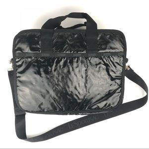 LeSportsac Black Patent Laptop Messenger Bag 15""
